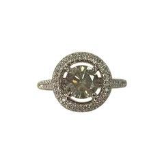 GIA Certified 1.05 Carat Fancy Gray Round Diamond Ring 18 Karat White Gold