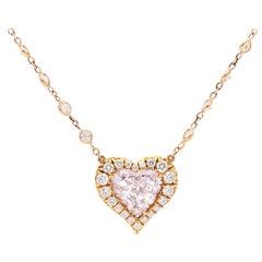 GIA Certified 1.05 Carat Heart Shape Fancy Pink Diamond Pendant