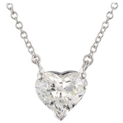 GIA Certified 1.05 Carat Heart Shaped Diamond White Gold Pendant Necklace