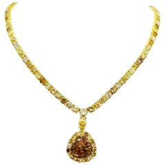 GIA Certified 10.50 Carat Fancy Dark Yellowish Brown Diamond Necklace