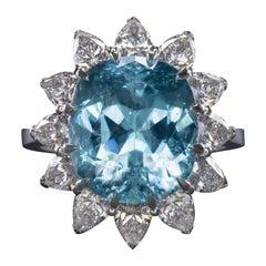 GIA Certified 10.50 Carats Blue Lagoon Paraiba Tourmaline Pear Cut Diamond Ring