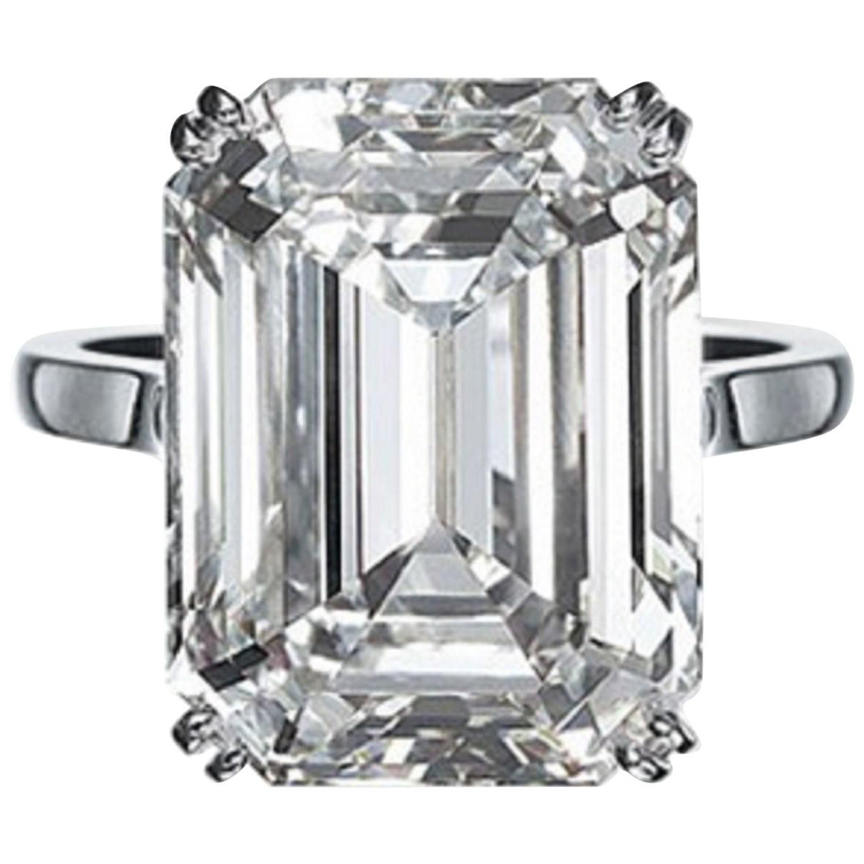 GIA Certified 8.67 Carat Emerald Cut Diamond Ring VVS1 Clarity