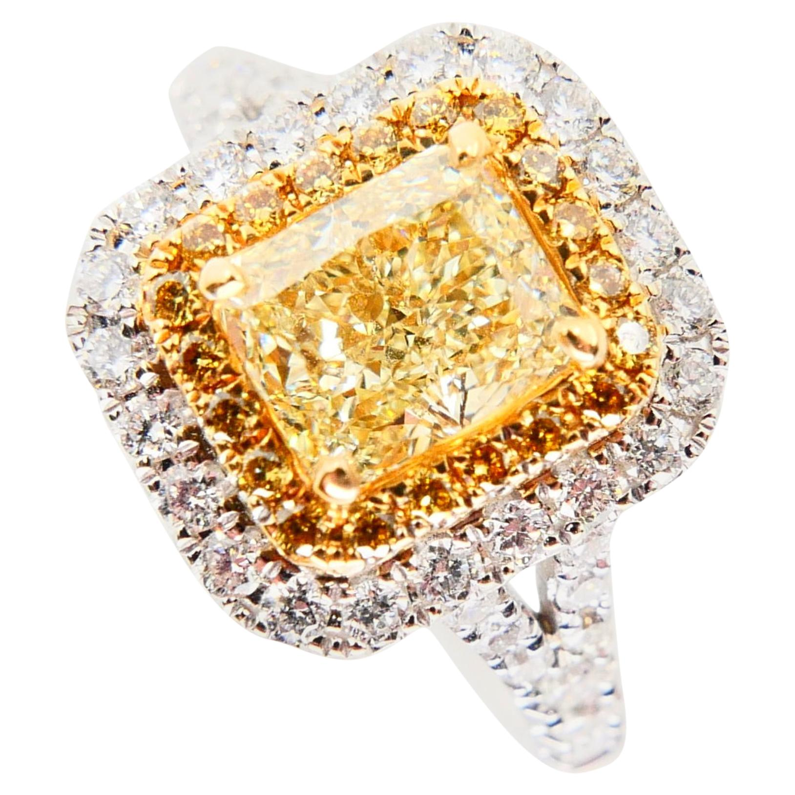 GIA Certified 1.06 Carat Cape Yellow Diamond Cocktail Ring, Double Halo Setting