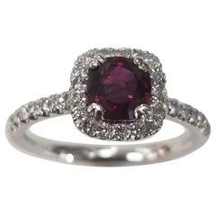 GIA Certified 1.06 Carat Cushion Ruby 14 Karat Gold Oval Ruby Diamond Halo Ring