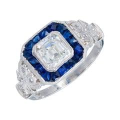 GIA Certified 1.06 Carat Diamond Calibre Sapphire Halo Platinum Engagement Ring