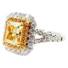 GIA Certified 1.06 Carat Diamond Ring Double Halo with Yellow and White Diamonds