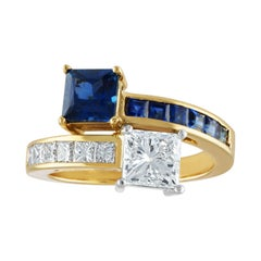 GIA Certified 1.06 Carat G VS2 Princess Cut Diamond Sapphire Gold Bypass Ring