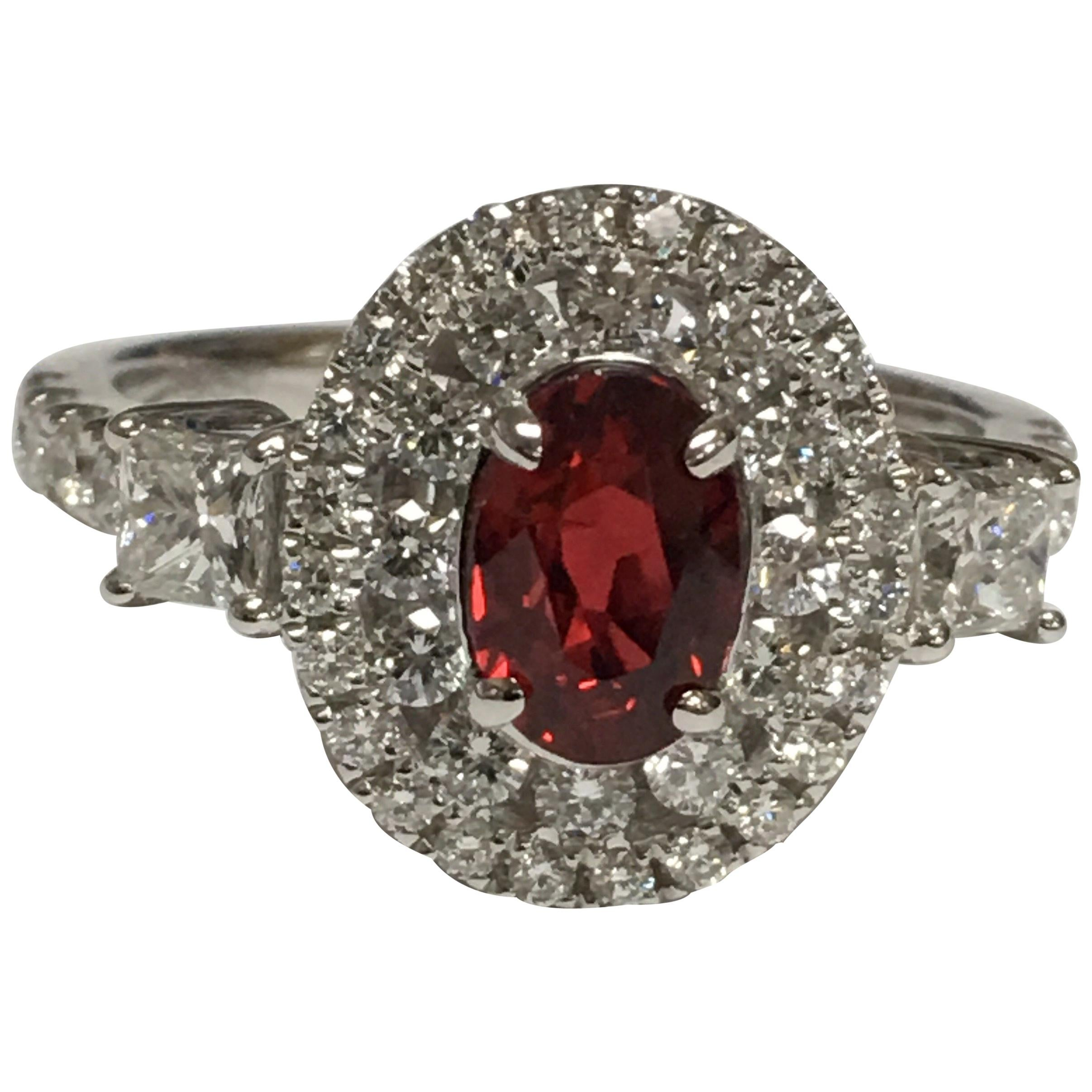 GIA Certified 1.06 Carat Ruby Diamond Engagement Ring