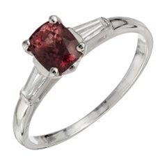 GIA Certified 1.06 Carat Sapphire Diamond White Gold Three-Stone Engagement Ring