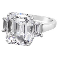 GIA Certified 10.61 Carat Emerald Cut Diamond Three-Stone Engagement Ring