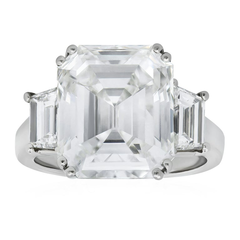 GIA Certified 10.61 Carat Emerald Cut Diamond Three-Stone Engagement Ring For Sale