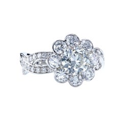 GIA Certified 1.07 Carat I/SI2 European Cut Diamond Platinum Halo Ring