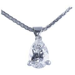GIA Certified 1.07 Carat Pear Shape Diamond Drop Pendant