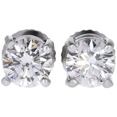GIA Certified 0.75 Carat VS Round Diamond Solitaire Stud Earrings 14 Karat Gold