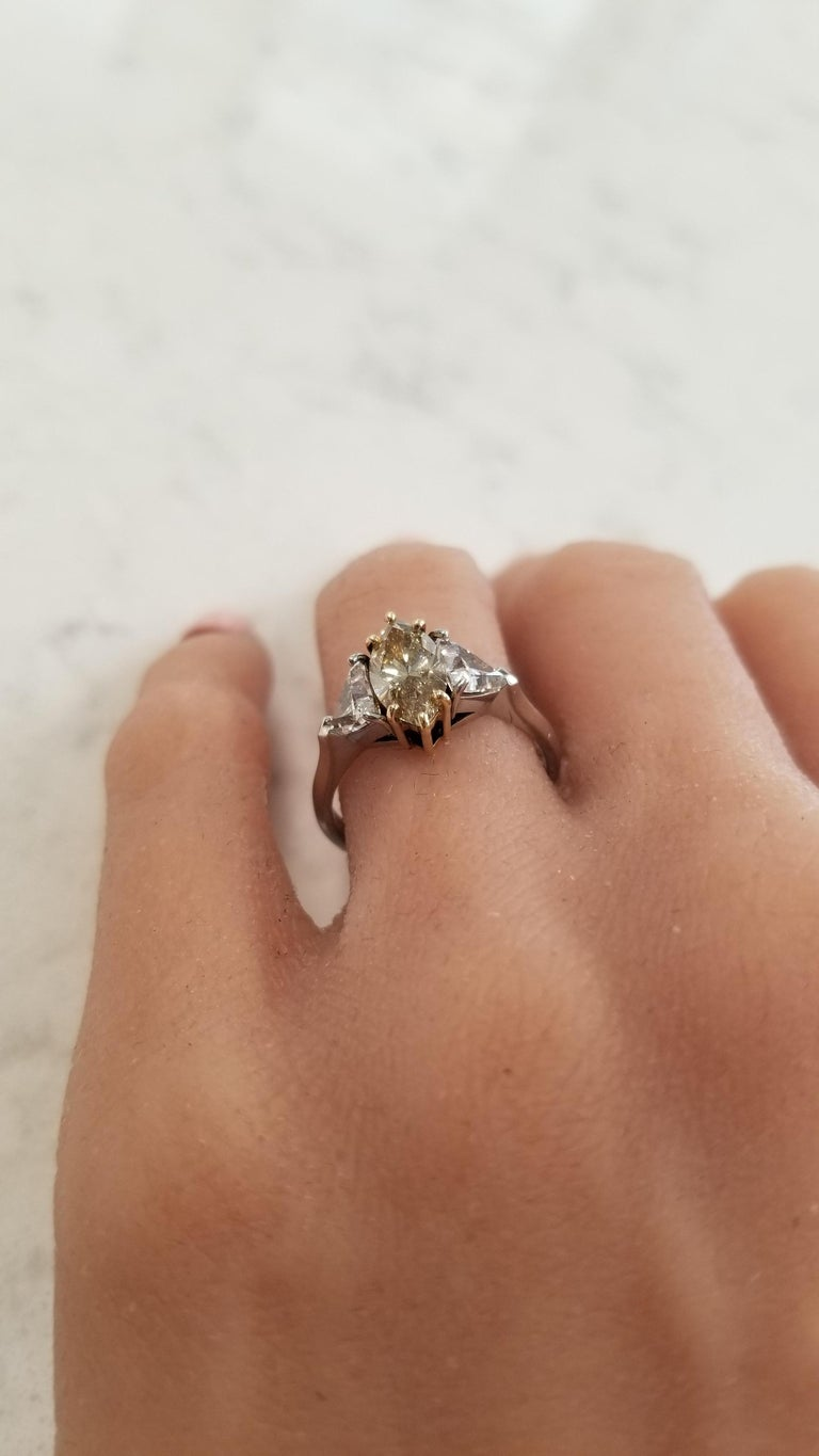 GIA Certified 1.08 Carat Fancy Brownish Yellow Diamond Cocktail Ring in Platinum For Sale 1