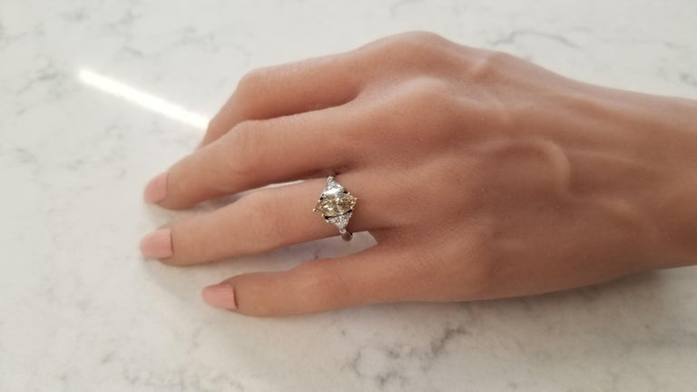 Women's GIA Certified 1.08 Carat Fancy Brownish Yellow Diamond Cocktail Ring in Platinum For Sale
