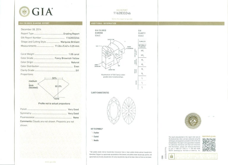GIA Certified 1.08 Carat Fancy Brownish Yellow Diamond Cocktail Ring in Platinum For Sale 2
