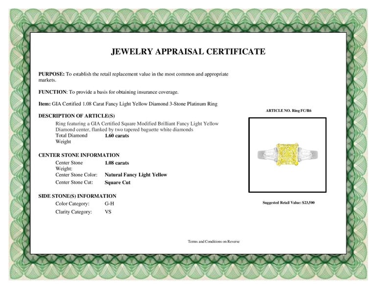 DiamondTown GIA Certified 1.08 Carat Fancy Light Yellow Diamond 3-Stone Ring For Sale 1