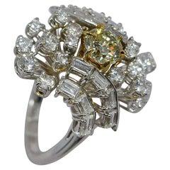 GIA Certified 1.08 Carat Light Yellow Diamond Ring 18 Karat Gold 3 Carats Total