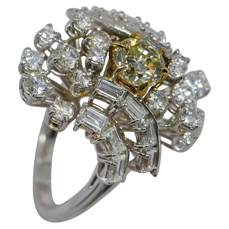 GIA Certified 1.08 Carat Light Yellow Diamond Ring 18 Karat Gold 3 Carats Total For Sale