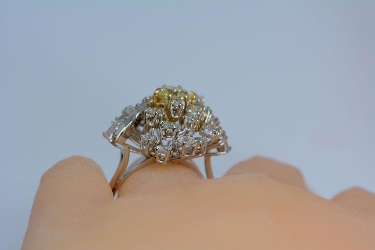 Women's GIA Certified 1.08 Carat Light Yellow Diamond Ring 18 Karat Gold 3 Carats Total For Sale