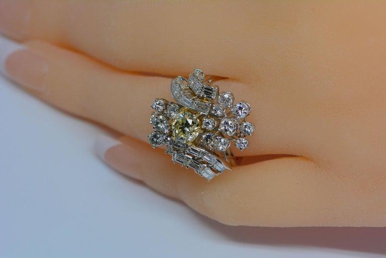 GIA Certified 1.08 Carat Light Yellow Diamond Ring 18 Karat Gold 3 Carats Total For Sale 1