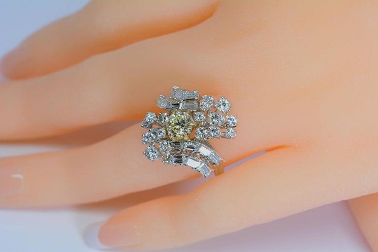 GIA Certified 1.08 Carat Light Yellow Diamond Ring 18 Karat Gold 3 Carats Total For Sale 2