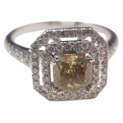 GIA Certified 1.08 Carat Natural Fancy Dark Yellow Cushion Diamond Ring