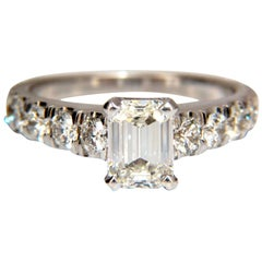 GIA Certified 1.08ct Emerald Cut diamond ring 1.20ct. sides 18kt Cathedral H/Vs1