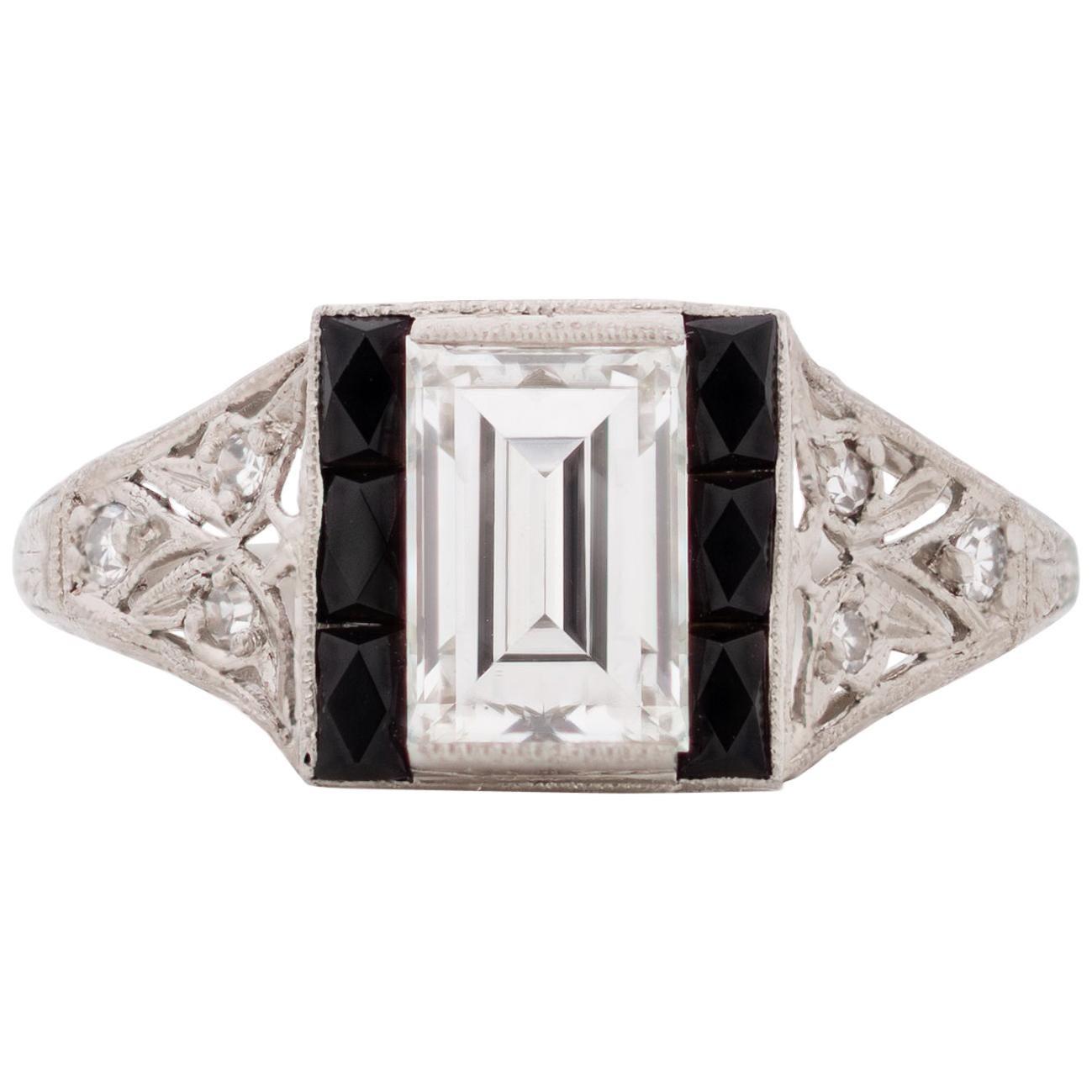 GIA Certified 1.09 Carat Art Deco Diamond Platinum Engagement Ring