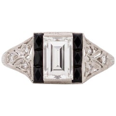 GIA Certified 1.09 Carat Art Deco Diamond Platinum Engagement Ring