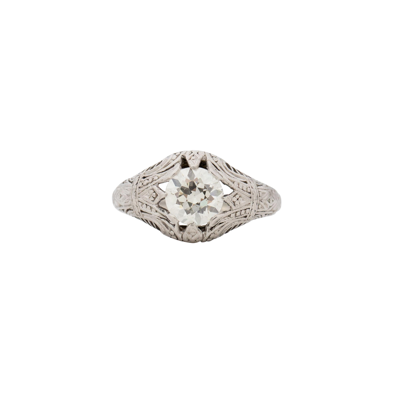 GIA Certified 1.09 Carat Edwardian Diamond Platinum Engagement Ring
