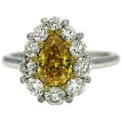 GIA Certified 1.09 Carat Fancy Vivid Yellow Diamond Engagement Ring