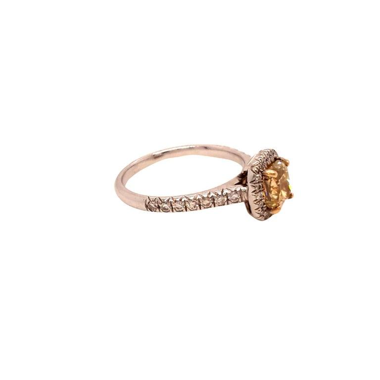 GIA Certified Yellow Cushion Diamond Ring. Total Diamond Weight: 1.36 Carats, Diamond Quantity: 38 diamonds (1 Fancy Yellow Cushion Diamond + 37 Brilliant Cut Diamonds), Diamond Clarity: VS1. Set on 18 karat white gold. Ring size 5.5.