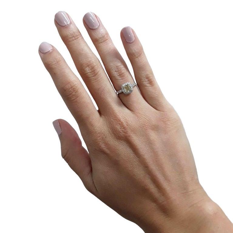 Cushion Cut Yellow Diamond Ring 1.09 Carats GIA Certified  For Sale