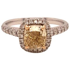Yellow Diamond Ring 1.09 Carats GIA Certified