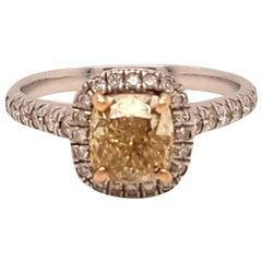 Yellow Diamond Ring 1.09 Carats GIA Certified
