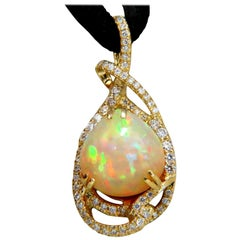 GIA Certified 10.91 Carat Natural Opal Diamonds Pendant 18 Karat