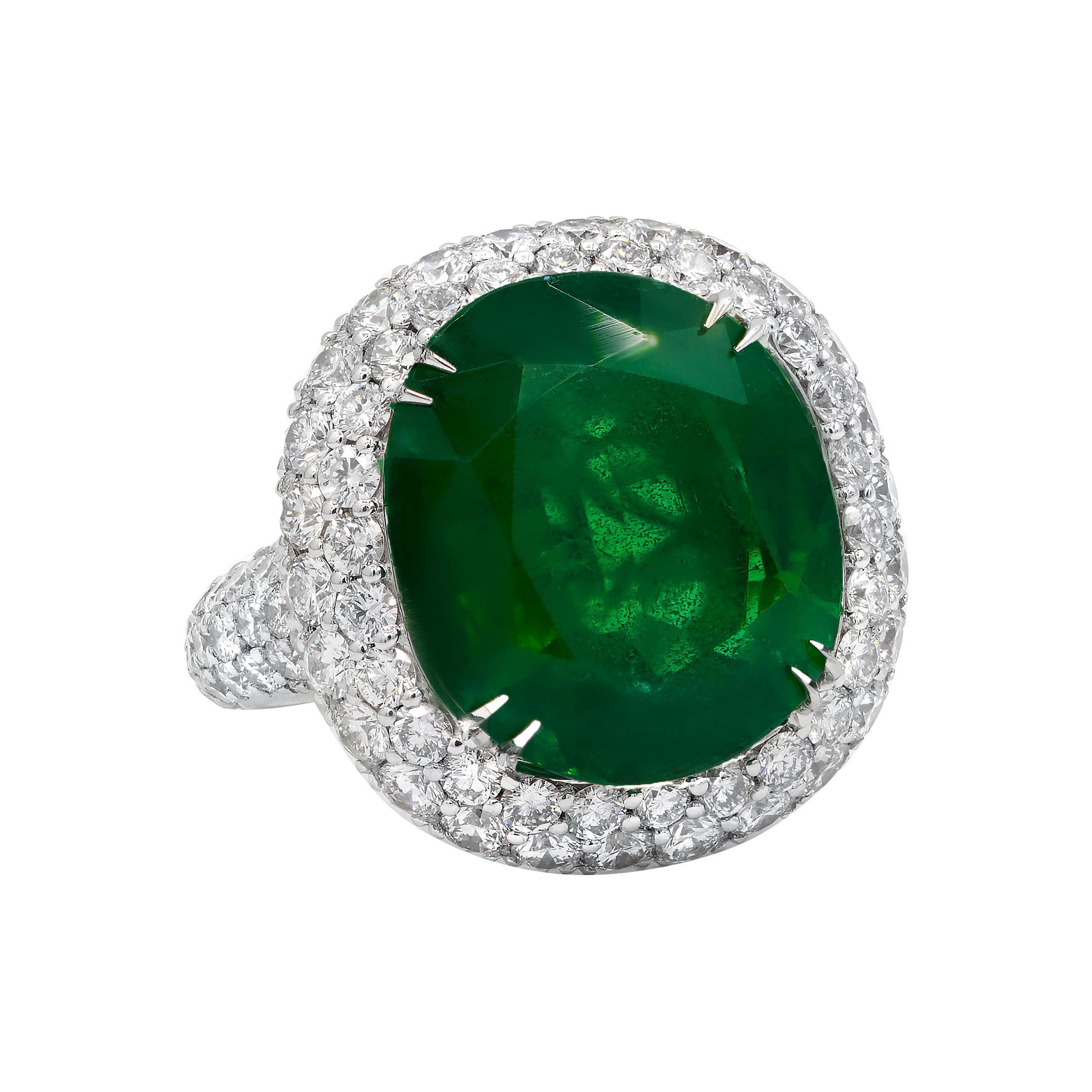 GIA Certified 10.95 Carat Green Emerald Diamond Ring