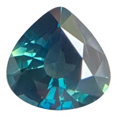 GIA Certified 1.09ct Untreated Deep Green Blue Sapphire Pear Cut Unheated Gem