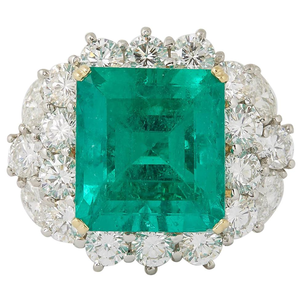 GIA Certified 11 Carat Colombian Emerald and Diamond Ring