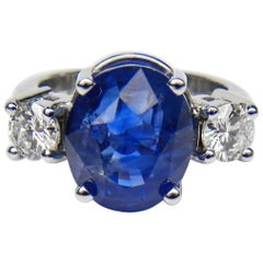 GIA Certified 11.00 Carat Cornflower Blue Unheated Sapphire and Diamond Ring