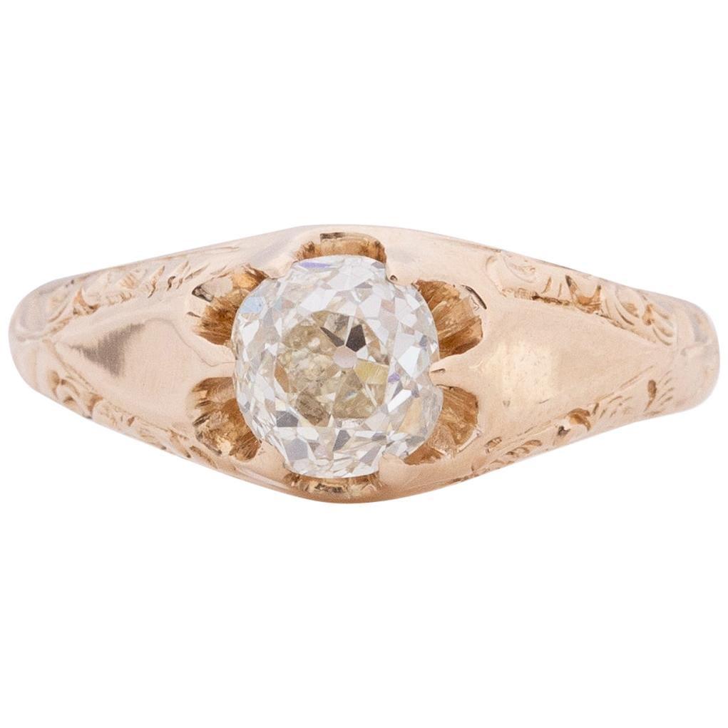 GIA Certified 1.10 Carat Edwardian Diamond 14 Karat Yellow Gold Engagement Ring