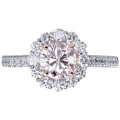 GIA Certified 1.10 Carat Fancy Faint Pink ish Diamond Halo Solitaire Ring