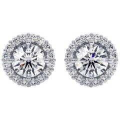 GIA Certified 1.71 Carat Round VS Diamond Solitaire Halo Stud Earrings 14K Gold