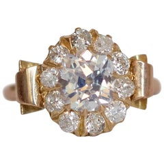 GIA Certified 1.11 Carat Diamond Yellow Gold Engagement Ring