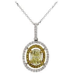GIA Certified 1.11 Carat Fancy Yellow Oval Shape Diamond Pendant Necklace