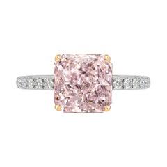 GIA Certified 1.11 Carat Radiant Cut Pink Diamond Ring