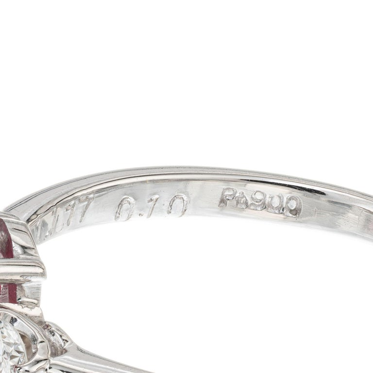 GIA Certified 1.11 Carat Ruby Diamond Platinum Three-Stone Engagement Ring For Sale 1
