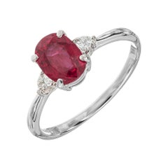 GIA Certified 1.11 Carat Ruby Diamond Platinum Three-Stone Engagement Ring